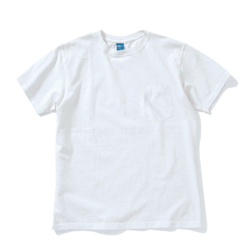 Crew Neck Pocket T-shirts - White